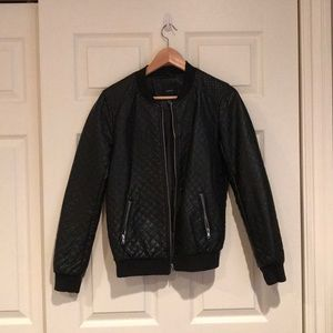 Diamond-quilted Leather bomber jacket